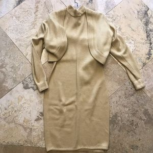 St. John vintage long sleeve chartreuse dress